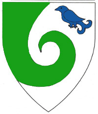 [Argent issuant from dexter chief a schnecke vert in sinister canton a martlet azure.      ]