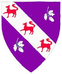 [Purpure, on a bend between two oak sprigs inverted argent, three foxes passant fesswise gules.  	  ]