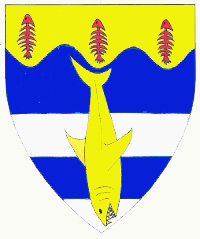 [Barry azure and argent, a shark urinant and on a chief wavy Or three fish skeletons palewise gules		  ]