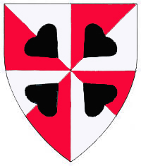[Gyronny argent and gules, four hearts in saltire points to center sable.      ]