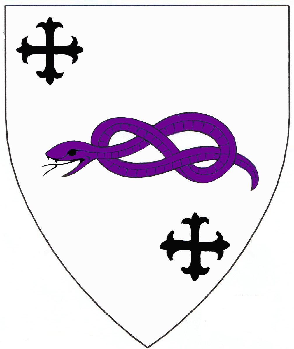 [Argent, a serpent nowed purpure between in bend two crosses flory sable.	  	  ]