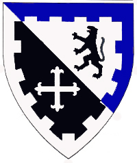 [Per bend argent and sable, a natural panther rampant sable and a cross fleury argent, a bordure embattled per bend purpure and argent	  	  ]