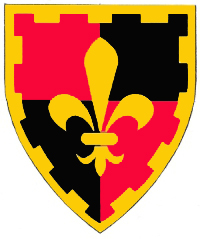 [Quarterly gules and sable, a fleur-de-lis within a bordure embattled Or.    ]