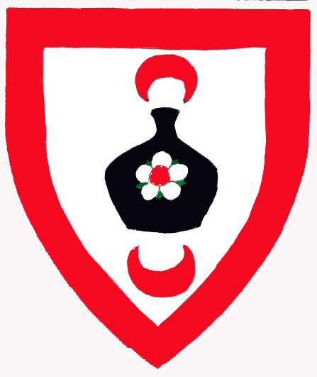 [Argent, on a bottle sable between in pale a crescent pendant and a crescent gules a rose argent seeded gules barbed vert, a bordure gules.  	  ]