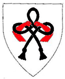 [Argent, a Hungerford knot sable, entwined around and maintaining in fess a pair of arms embowed gules.         ]