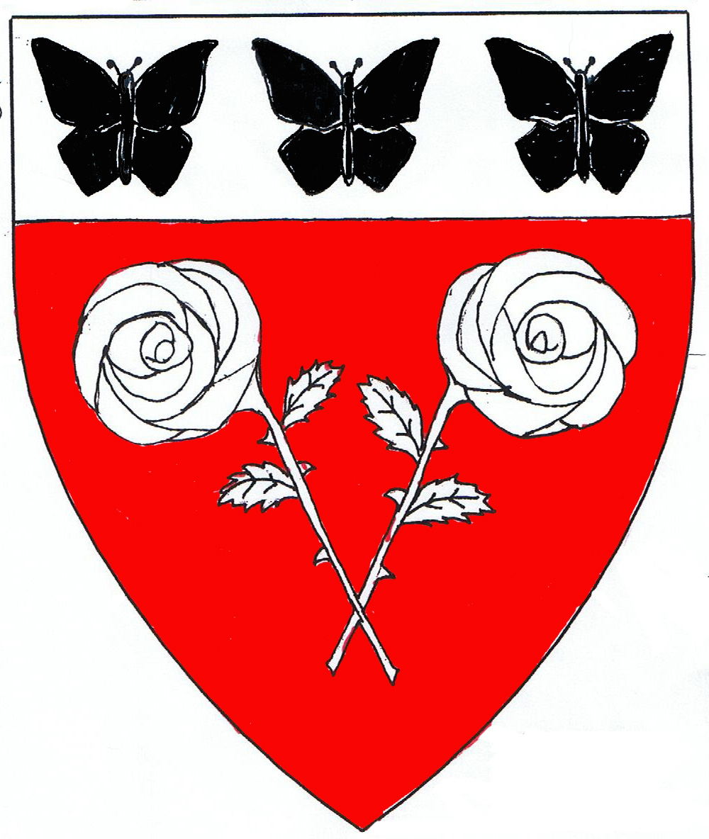 [Gules, two roses slipped and leaved in pile, stems crossed at the tips, on a chief argent three butterflies sable.	  	  ]
